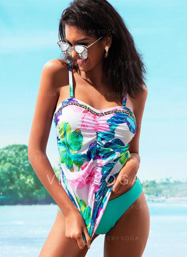 Floral Strap Elegant Tankinis Swimsuits