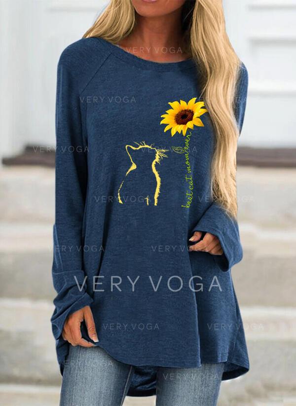 Animal-Print Sonnenblumendruck Rundhalsausschnitt Lange Ärmel Freizeit T-shirts