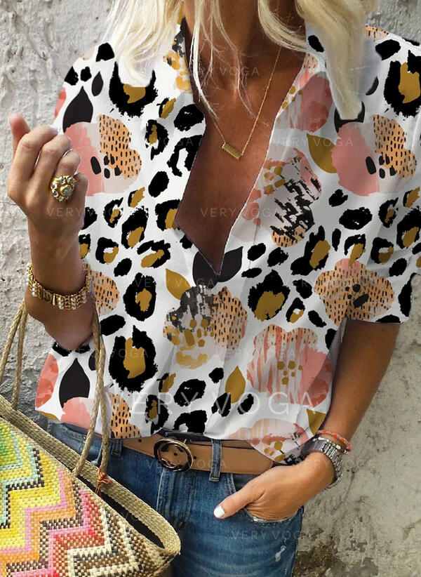 Print Leopard Lapel Long Sleeves Casual Blouses
