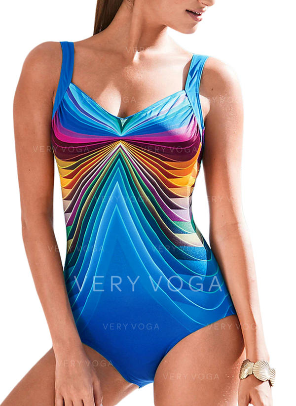 Stripe Tropical Print Strap Sexy One-piece Swimsuits