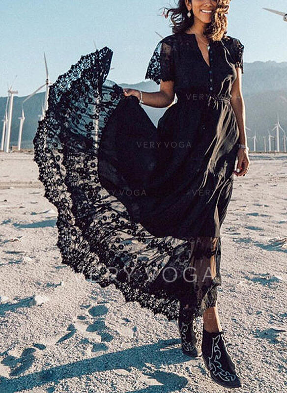 Koronka/Jednolita Krótkie rękawy W kształcie litery A Łyżwiaż Casual/Wakacyjna Maxi Sukienki