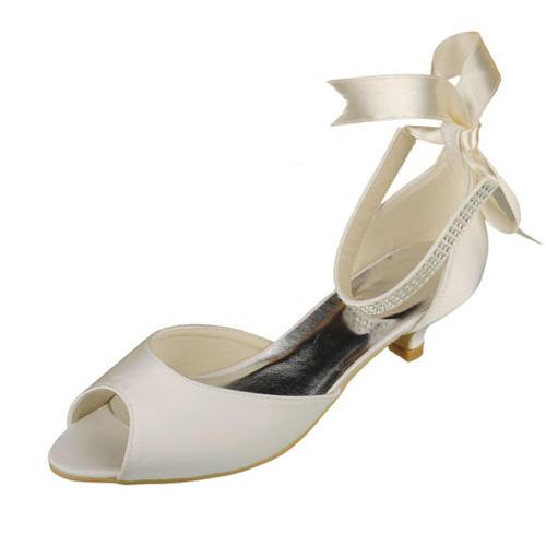Frauen Satin Kätzchen Absatz Peep-Toe Sandalen mit Kristall