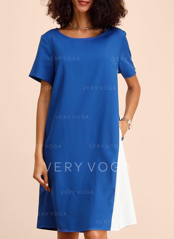 Color-block Krátké rukávy Splývavé Délka ke kolenům Neformální Šaty