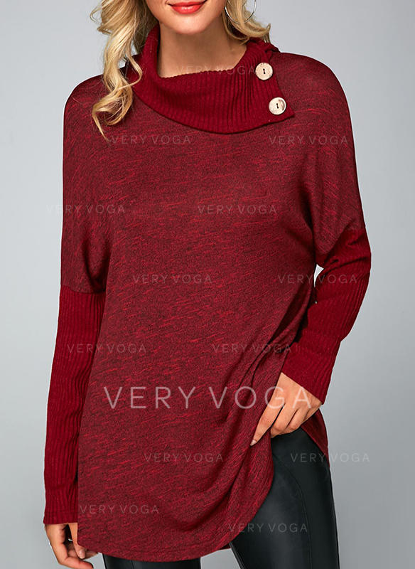 Solid High Neck Long Sleeves Casual Christmas Knit Blouses