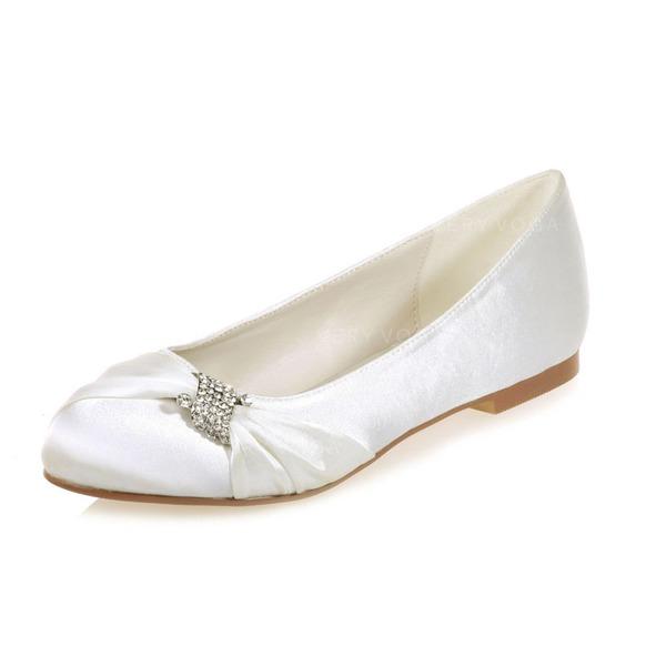 47138f26911 Women s Satin Flat Heel Closed Toe Flats With Rhinestone (047068283 ...
