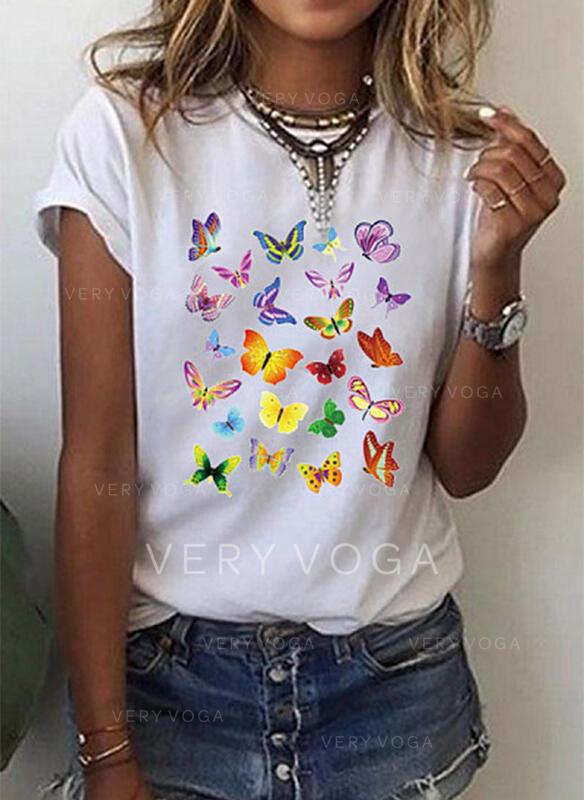 アニマルプリント ラウンドネック 半袖 カジュアル Tシャツ