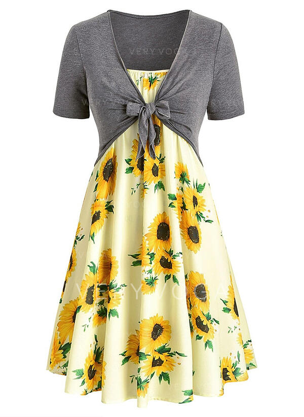 Sunflower Print Short Sleeves A-line Knee Length Casual/Elegant/Plus Size Dresses