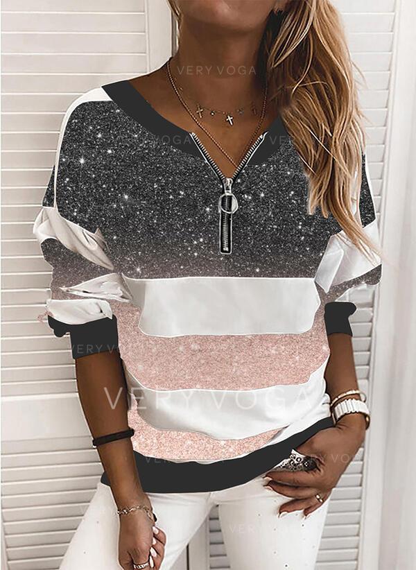 Color Block pailletter V-hals Lange ærmer Sweatshirts