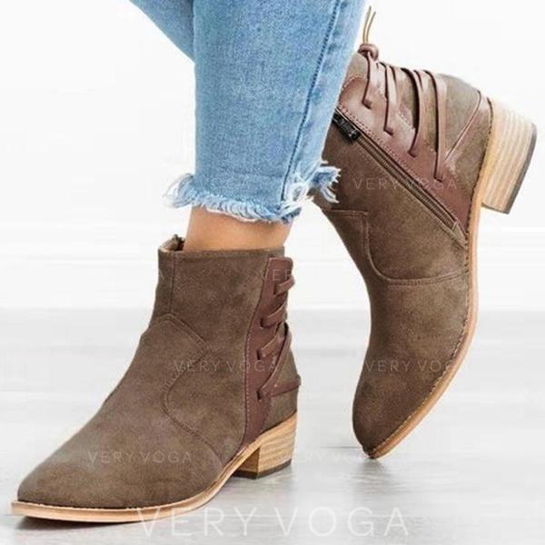 Mulheres PU Salto robusto Bombas Fechados Botas com Zíper sapatos