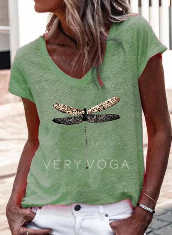 Dier Afdrukken V-hals Korte Mouwen T-shirts