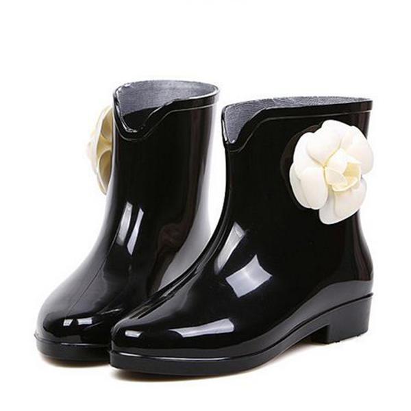 Pentru Femei PVC Toc jos Cizme Botine Cizme de Ploaie cu Floare pantofi