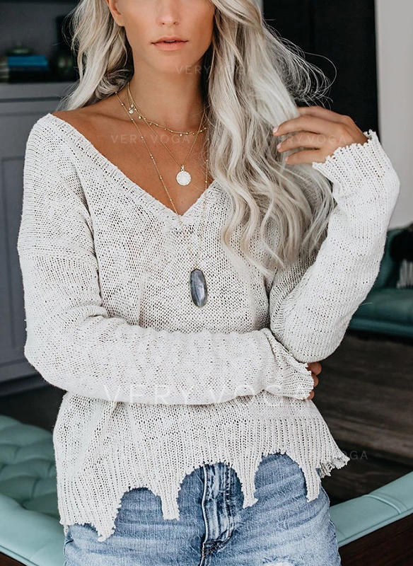 Solid V neck Sweaters