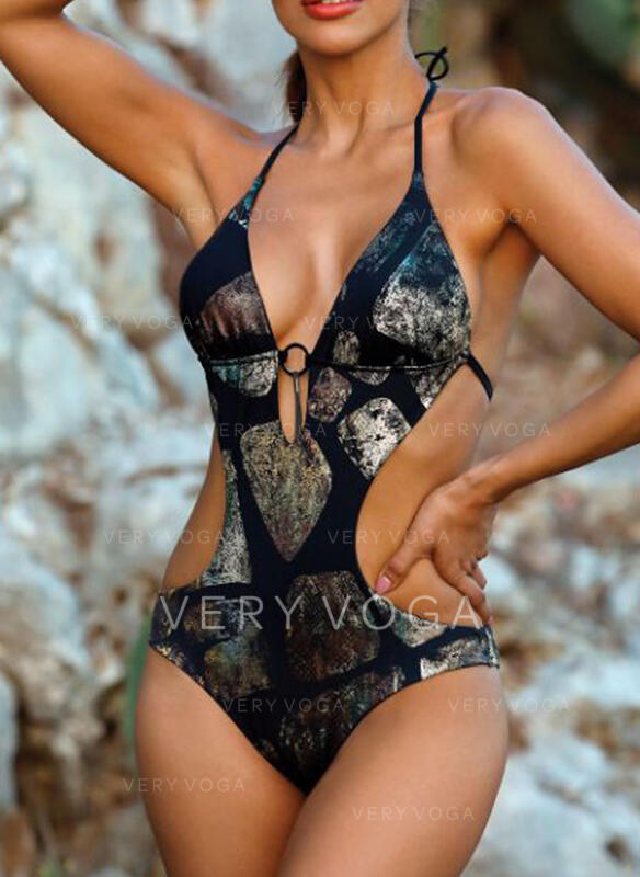 Print Halter Sexy Vintage One-piece Swimsuits