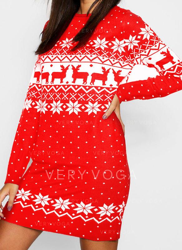 Nadrukowana/Nadruk zwierzęcy Długie rękawy Koktajlowa Nad kolana Boże Narodzenie/Casual Tunika Sukienki