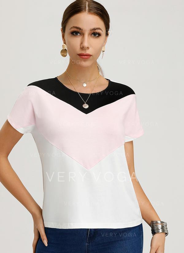 Цветной блок Шею С коротким рукавом Повседневная элегантный Блузы