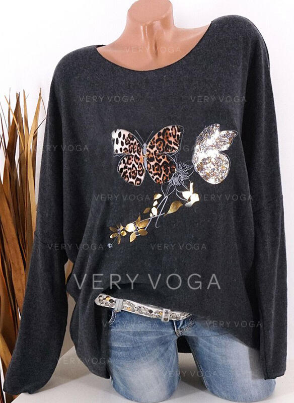 Animal Print Leopard Round Neck Long Sleeves T-shirts