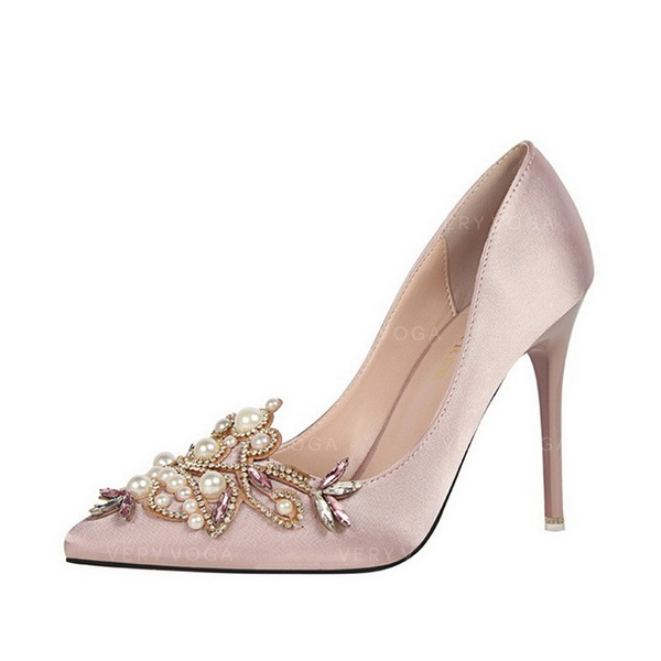 Women's Silk Stiletto Heel Pumps With Pearl shoes