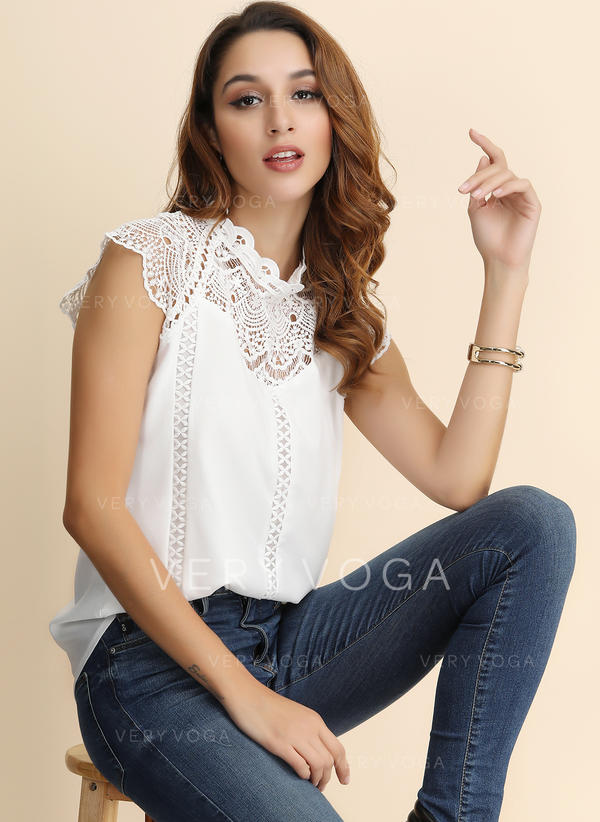 Solid Lace Stand-up Collar Short Sleeves Casual Elegant Blouses
