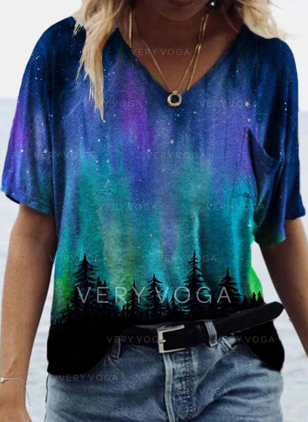 Print Forest V-Neck Short Sleeves Casual T-shirts
