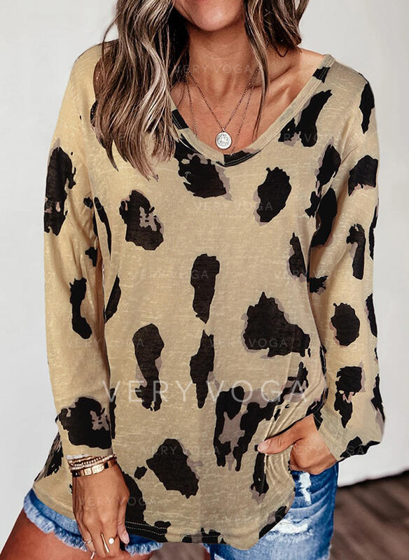 Leopard V-Neck Long Sleeves Casual T-shirts (1003314578)