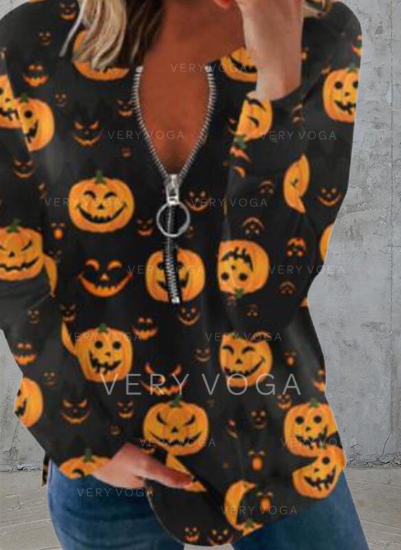 """Halloween Tisk Výstřih do """"V"""" Dlouhé rukávy Tricouri"""
