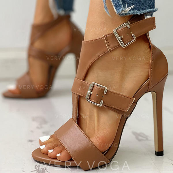 Donna PU Tacco a spillo Sandalo Punta aperta con Fibbia scarpe