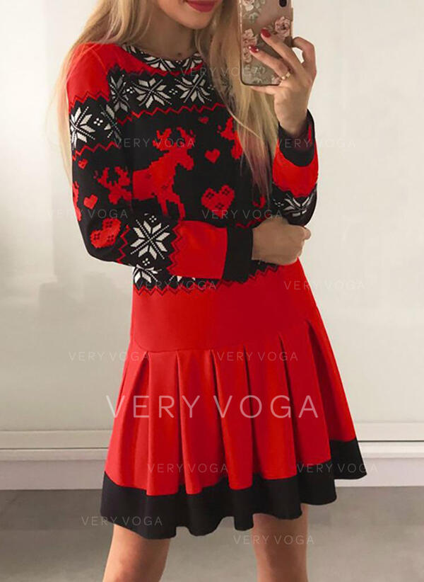 Animal Print Long Sleeves Sheath Above Knee Christmas/Casual Dresses