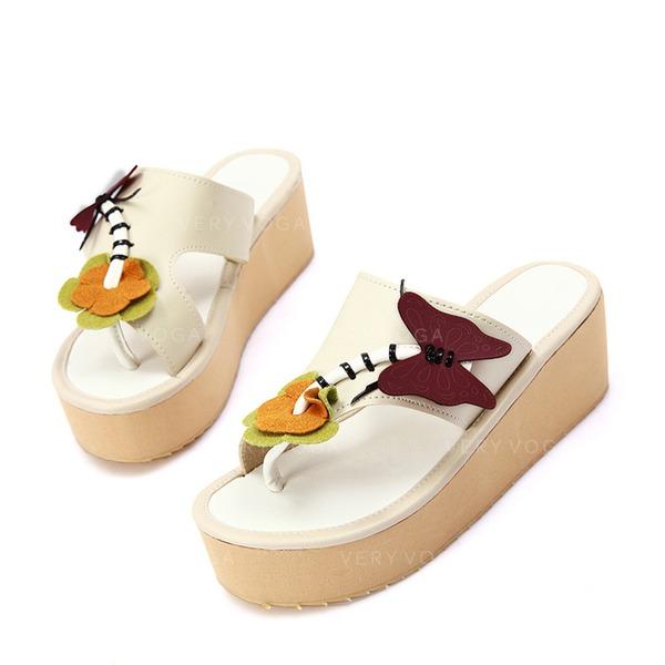 Similicuir Talon plat Sandales Chaussures plates Compensée À bout ouvert Chaussons avec La copie Animale chaussures