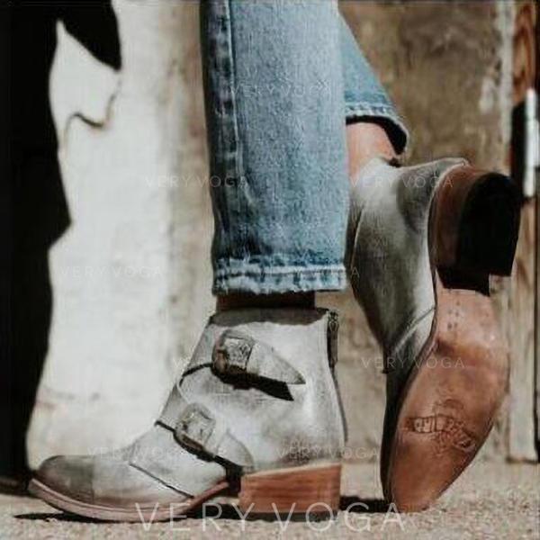 Vrouwen Kunstleer Low Heel Pumps Laarzen met Gesp Rits schoenen
