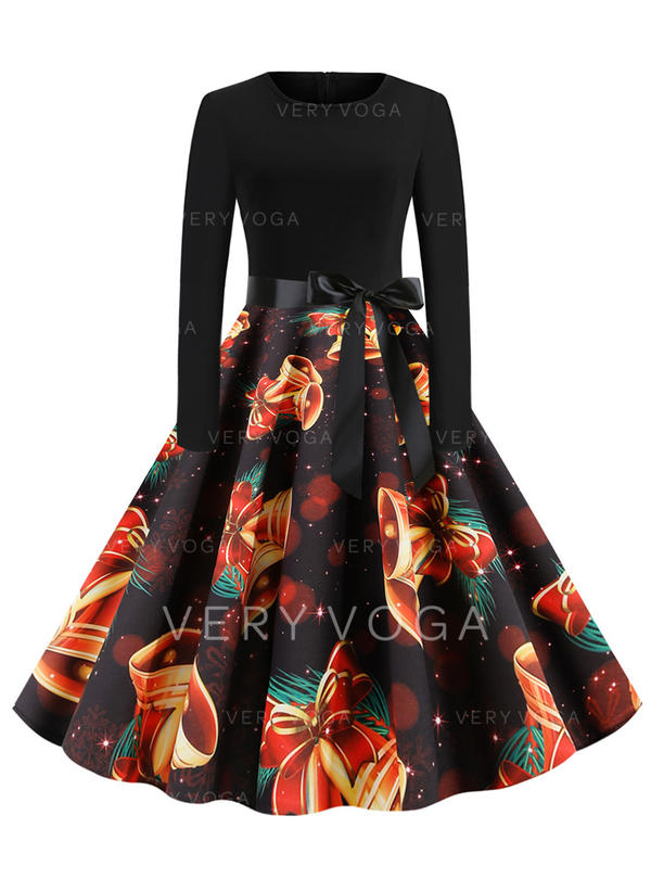 Print Long Sleeves A-line Knee Length Vintage/Party/Elegant Dresses