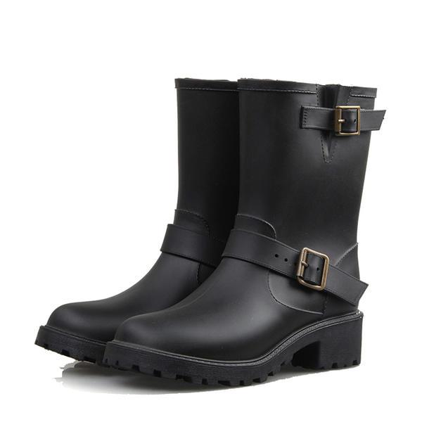 27680c7230e Kvinnor PVC Låg Klack Stövlar Halva Vaden Stövlar Gummistövlar med Spänne  skor