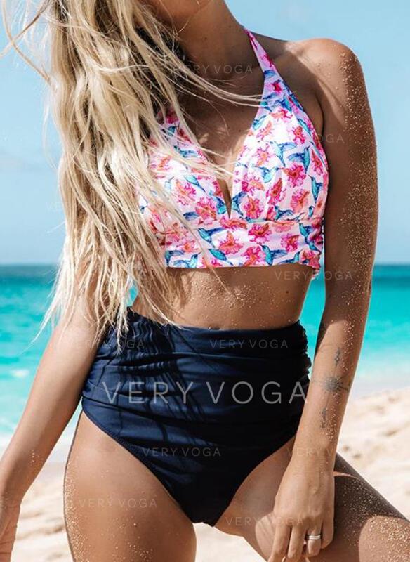 Kwiatowy Wysoki stan Wiązany na szyi Elegancki Ładny Bikini Stroje kąpielowe