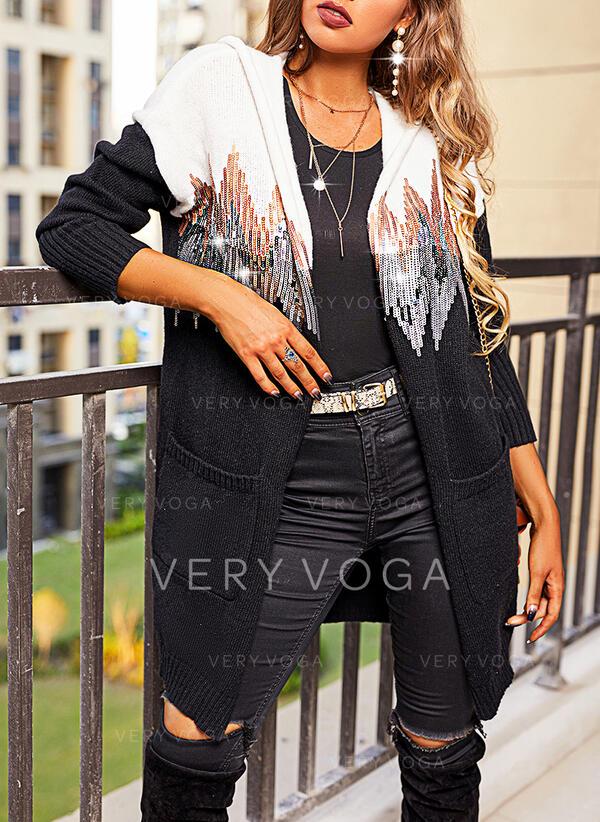 Impresión Trozos de color Lentejuelas Capucha Casual Vestido de Suéter