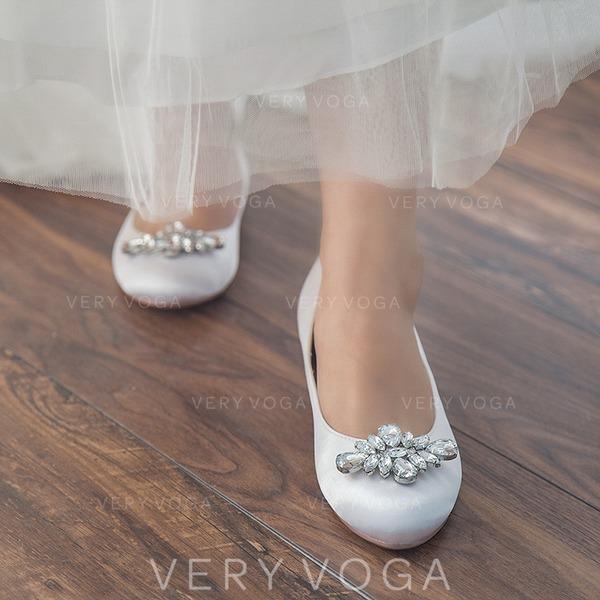 016dcb64754 Women s Satin Flat Heel Closed Toe Flats With Rhinestone (047113562 ...