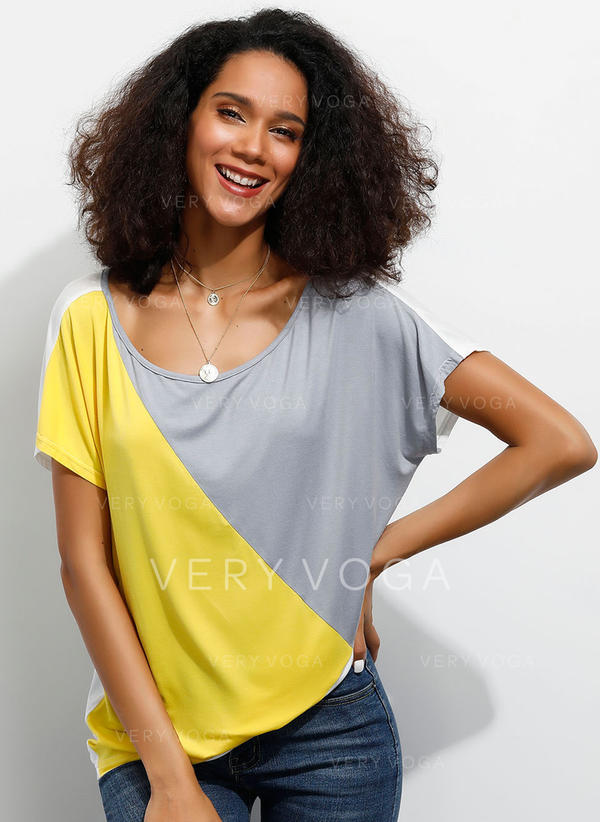 Color Block Round Neck Short Sleeves Casual Blouses
