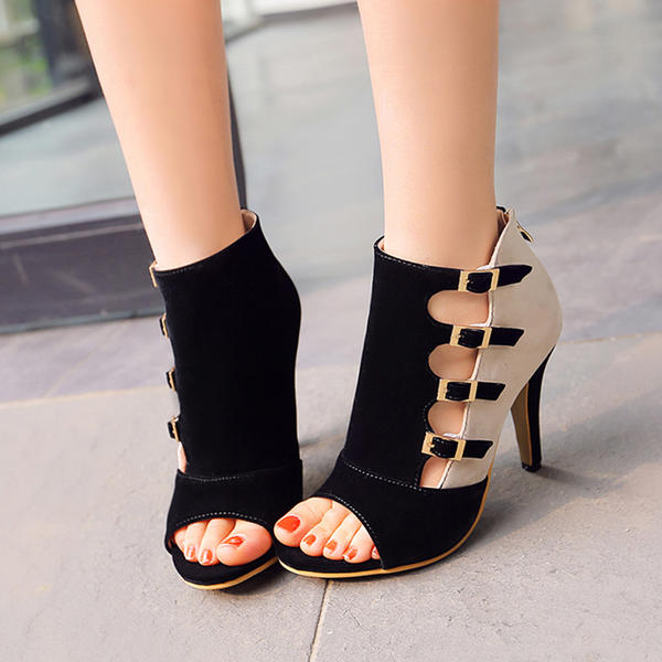 Women's Leatherette Stiletto Heel Sandals With Buckle Hollow-out shoes