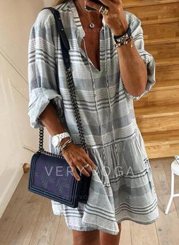 Print/Striped Long Sleeves Shift Knee Length Casual Tunic Dresses