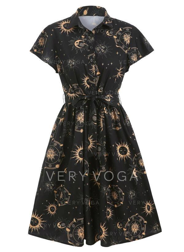 印刷 半袖 Aラインワンピース 膝丈 パーティー/ハロウィーン シャツ/スケーター ドレス