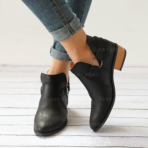 Women's PU Flat Heel Flats Closed Toe Boots Ankle Boots With Buckle shoes