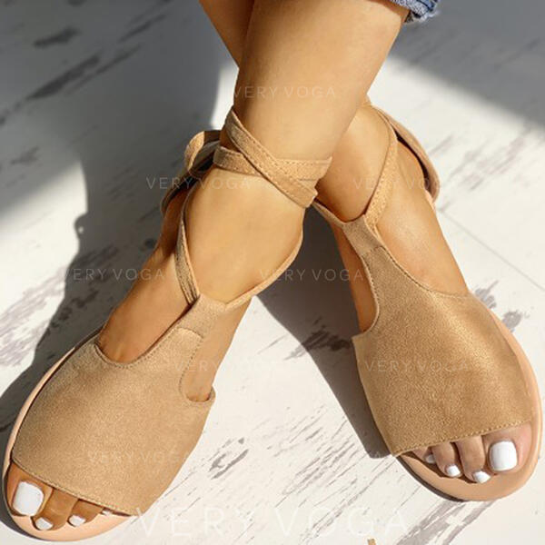 Vrouwen Suede Flat Heel Sandalen Peep Toe met Vastrijgen schoenen