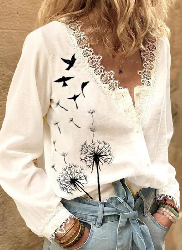 Animal Print Lace V-Neck Long Sleeves Button Up Casual Blouses