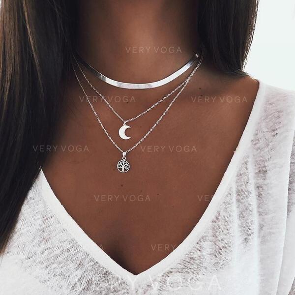 Elegante Liga com Lua Conjuntos de jóias Brincos 3 PECAS