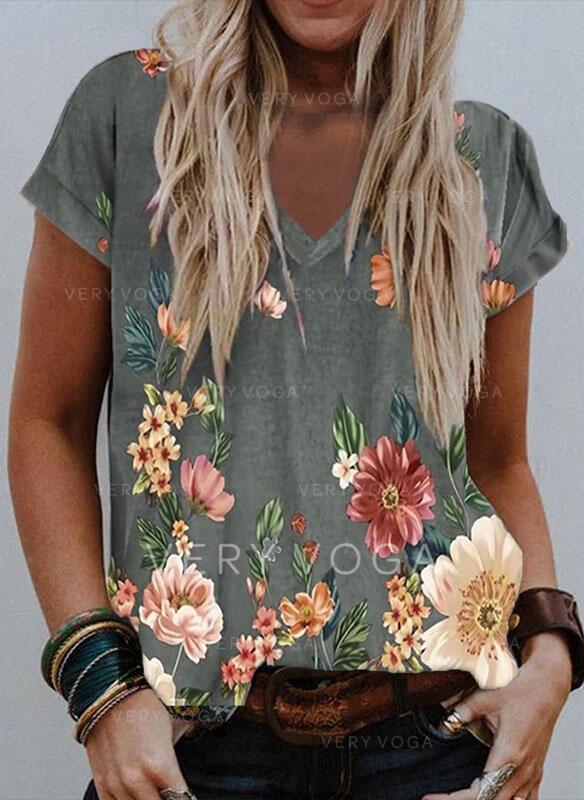 Floral Estampado Decote em V Manga Curta Camisetas