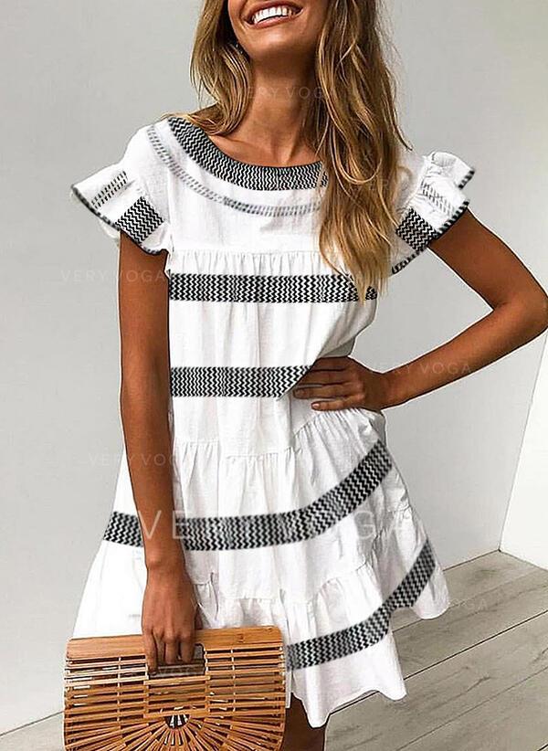 印刷 半袖 シフトドレス 膝上 カジュアル チュニック ドレス