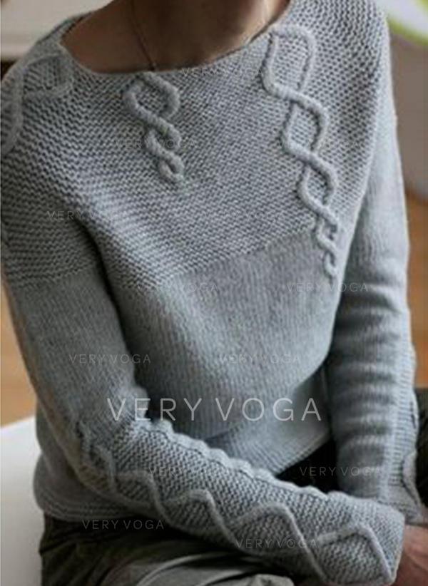 Solido Cavo Knit Maglia grossa Girocollo Casual Maglioni