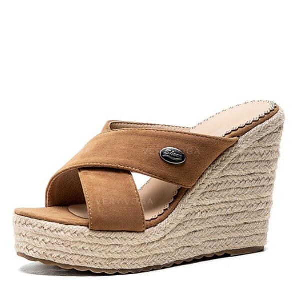 Dla kobiet Zamsz Obcas Koturnowy Sandały Koturny Kapcie obuwie