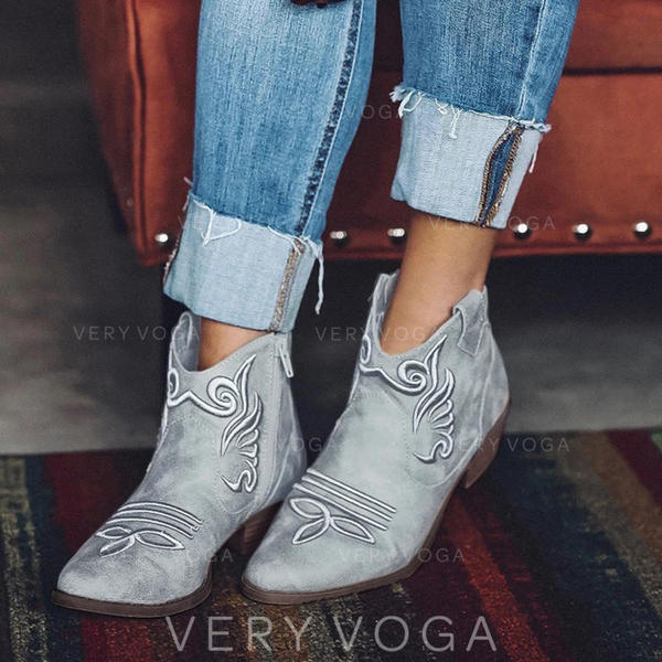 Women's PU Chunky Heel Pumps Boots Ankle Boots shoes