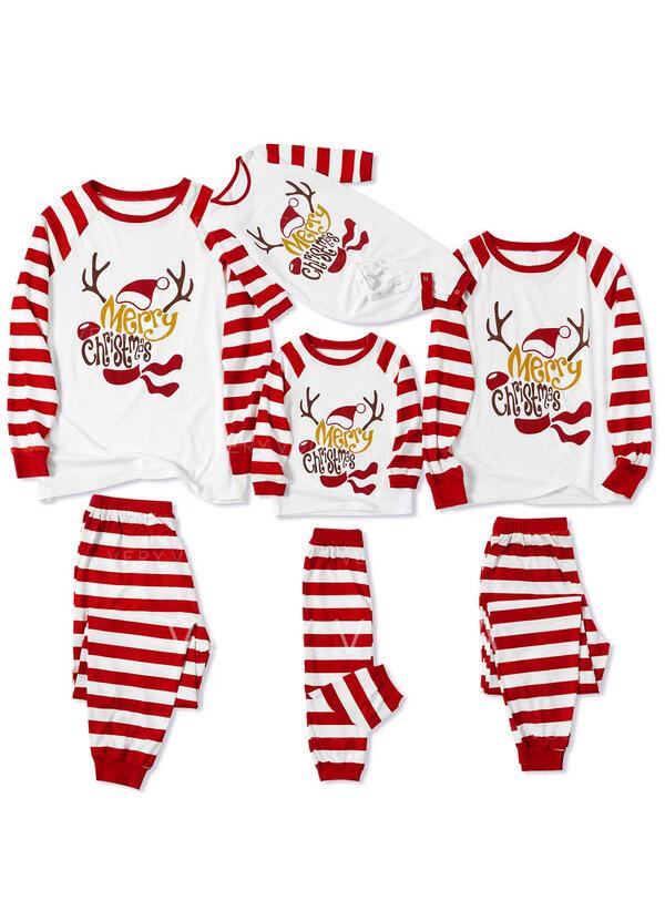 Letter Stribe Print Familie Matchende Jul Pyjamas