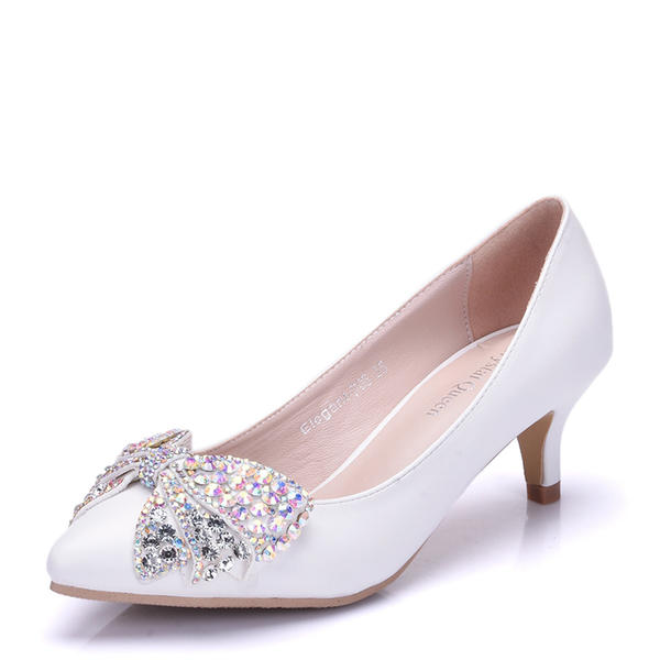 ef0998042bf Women s Leatherette Stiletto Heel Closed Toe Pumps With Bowknot Rhinestone