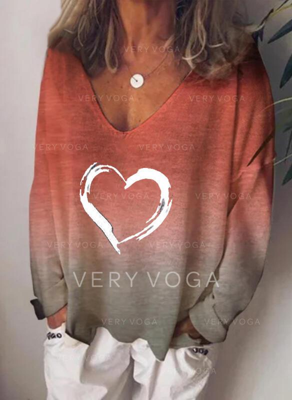 Print Tie Dye V-Neck Long Sleeves Casual T-shirts